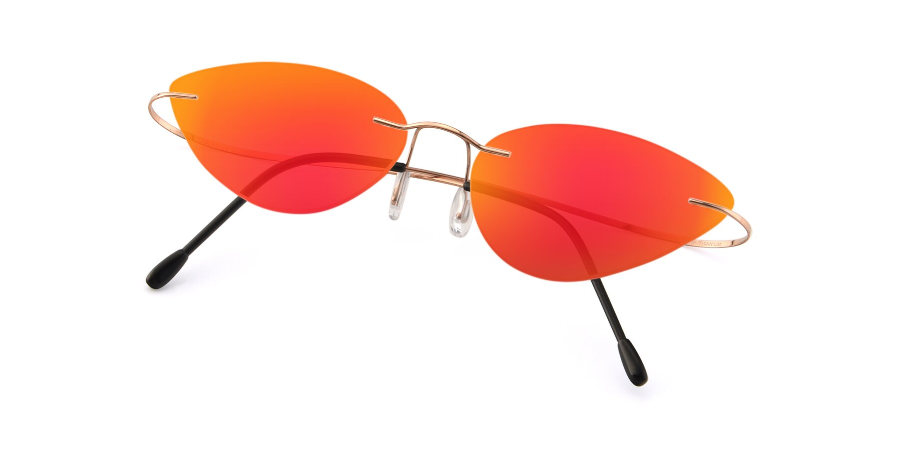 View of Pat in Rose Gold with Red Gold Mirrored Lenses