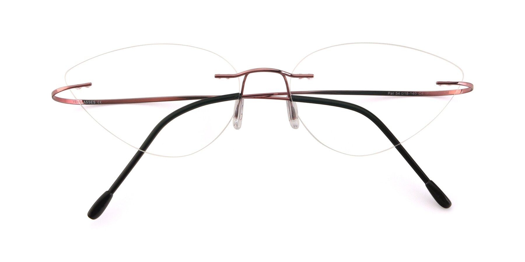 Folded Front of Pat in Light Pink with Clear Eyeglass Lenses