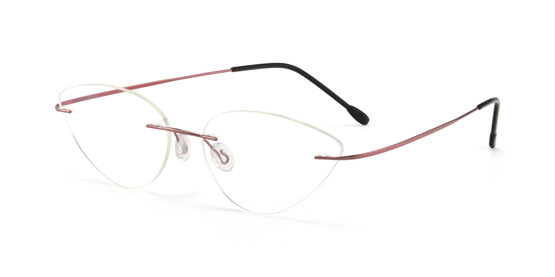 Angle of Pat in Light Pink with Clear Eyeglass Lenses