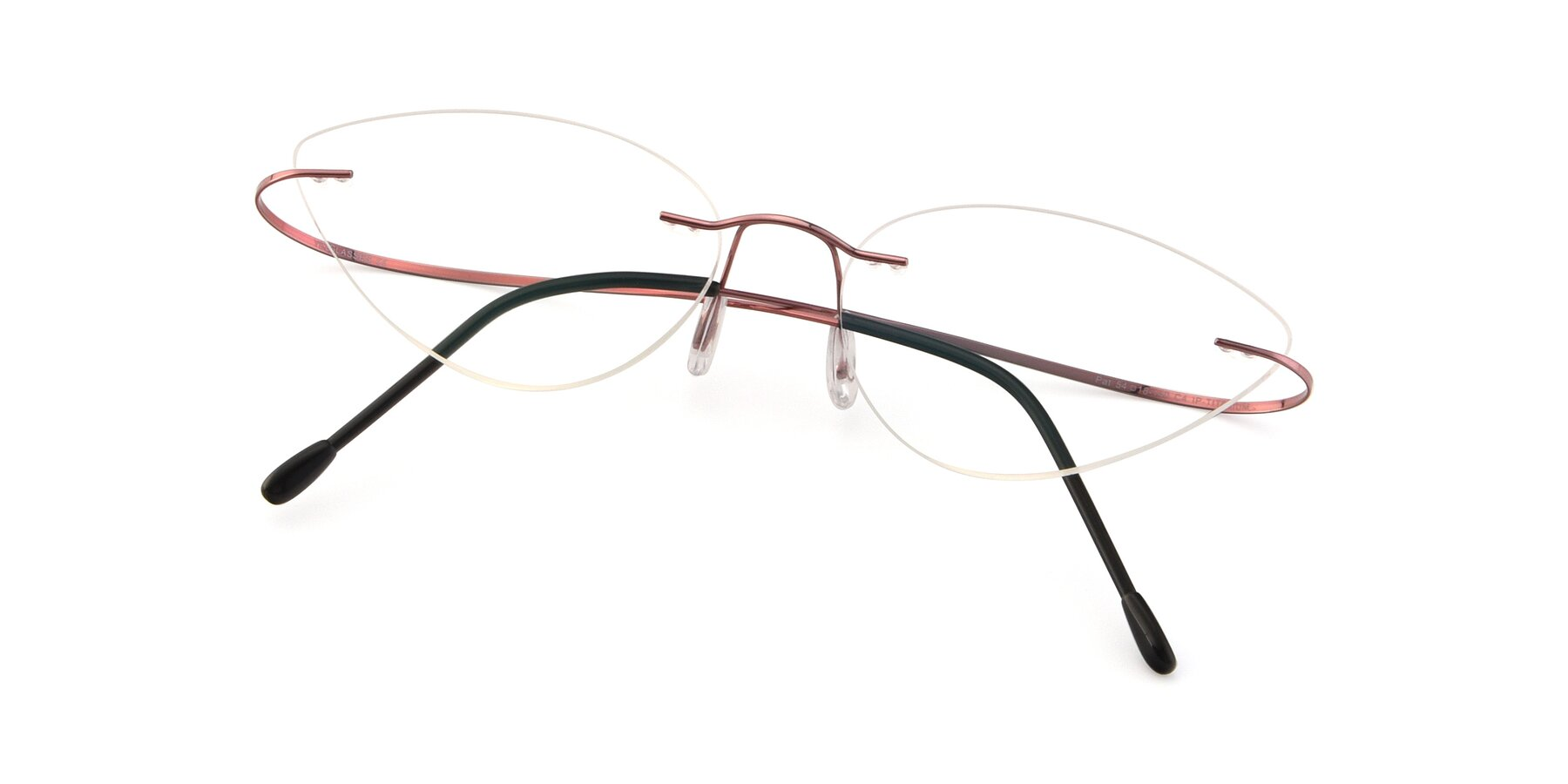 View of Pat in Light Pink with Clear Eyeglass Lenses