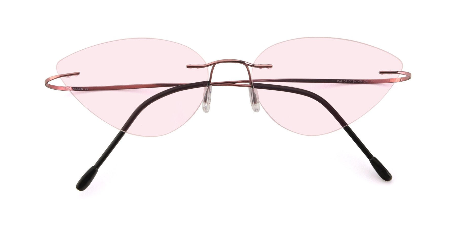 Folded Front of Pat in Light Pink with Light Pink Tinted Lenses