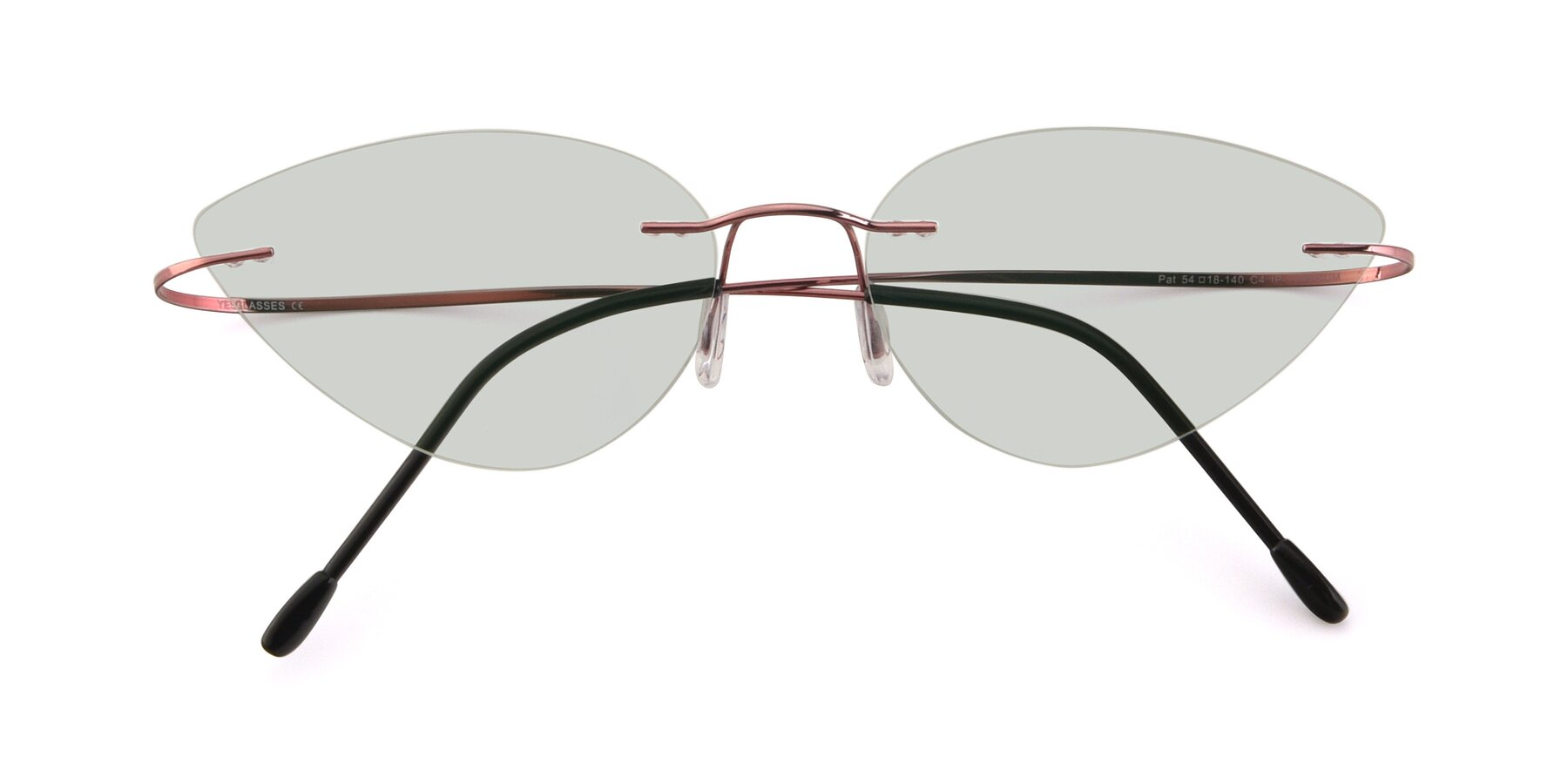 Folded Front of Pat in Light Pink with Light Green Tinted Lenses