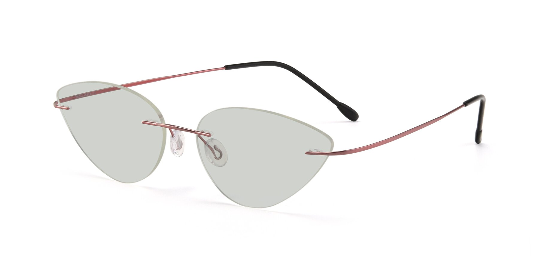Angle of Pat in Light Pink with Light Green Tinted Lenses