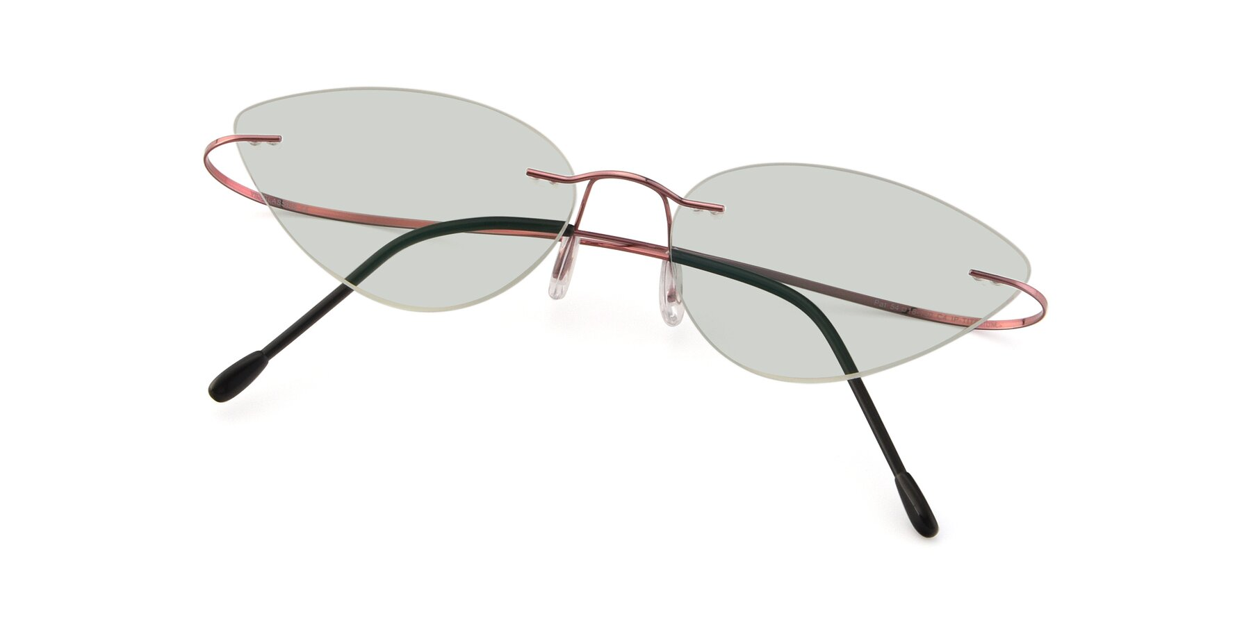 View of Pat in Light Pink with Light Green Tinted Lenses