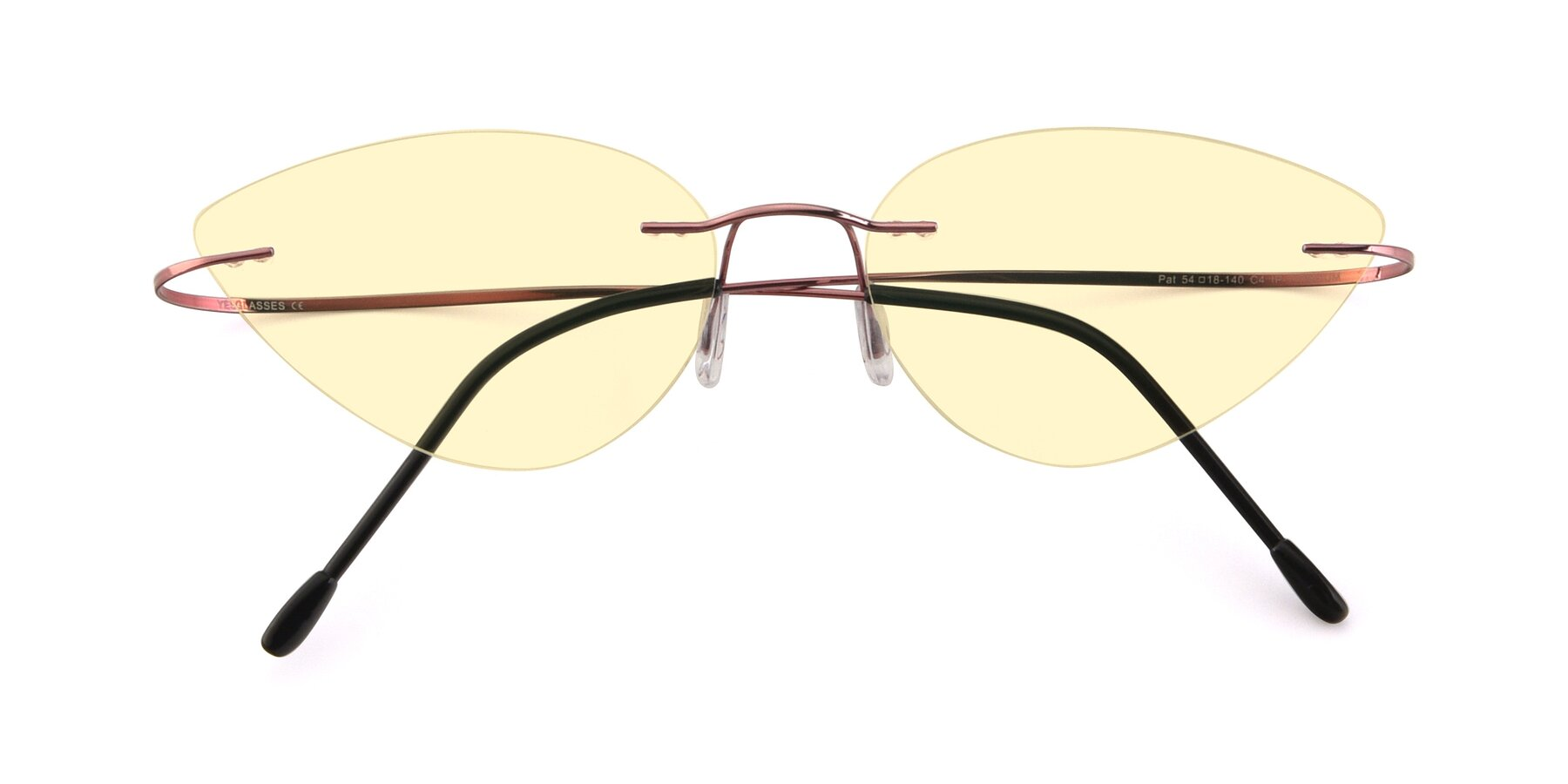 Folded Front of Pat in Light Pink with Light Yellow Tinted Lenses