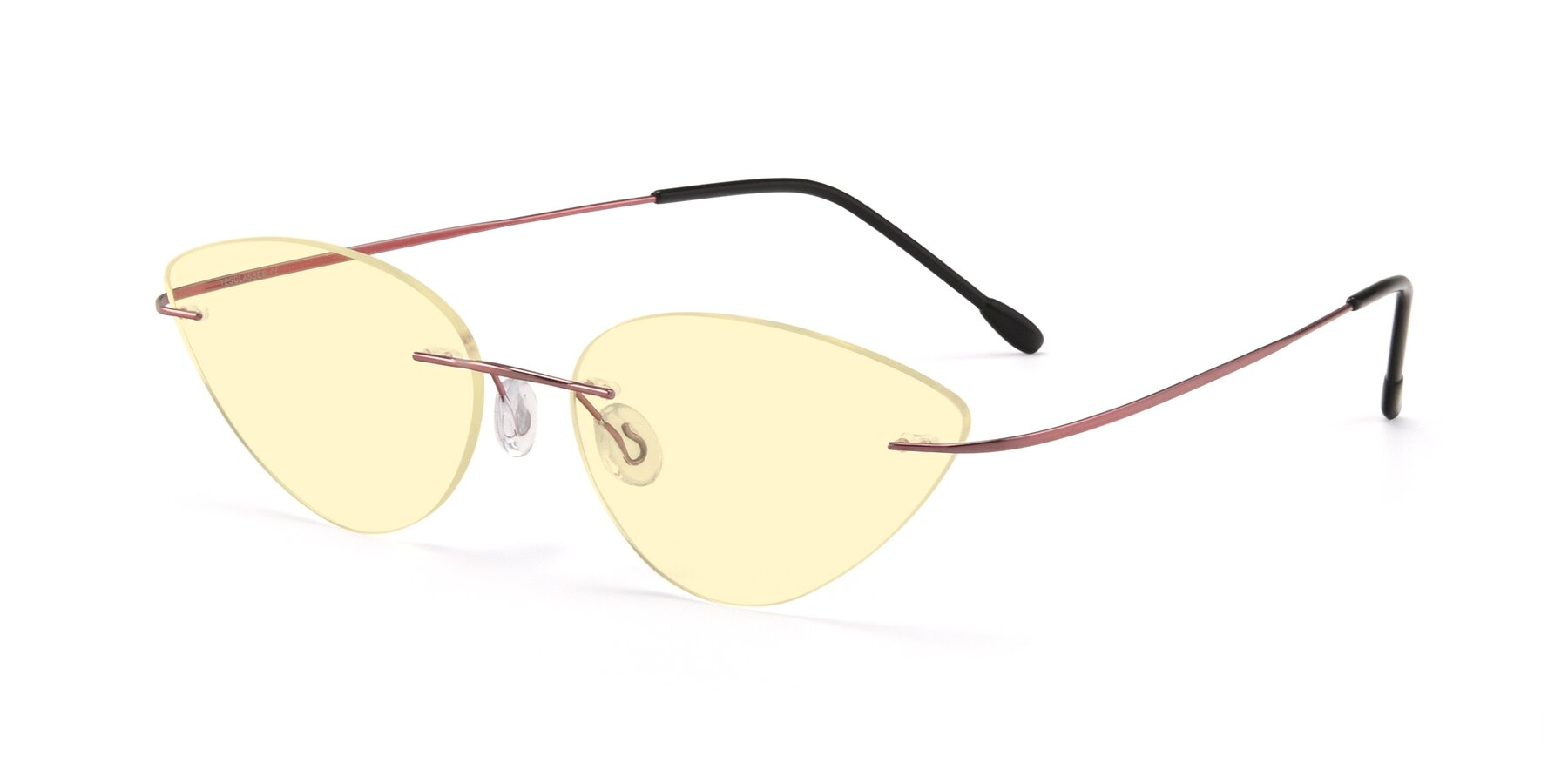 Angle of Pat in Light Pink with Light Yellow Tinted Lenses