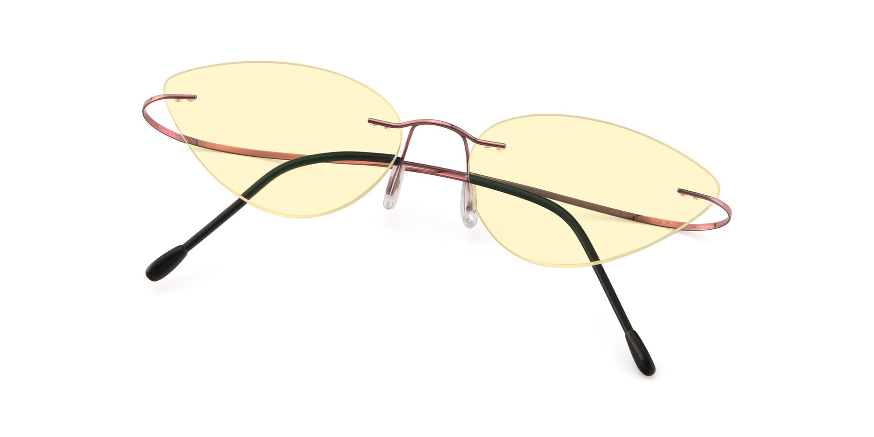 View of Pat in Light Pink with Light Yellow Tinted Lenses