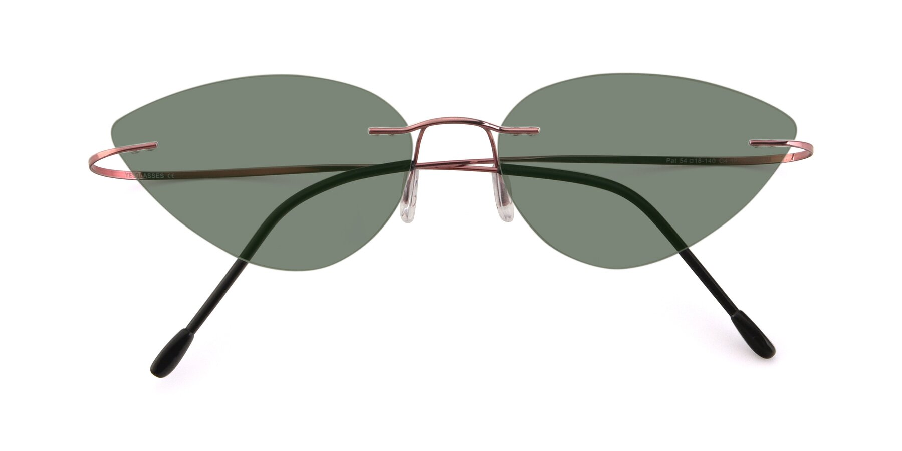 Folded Front of Pat in Light Pink with Medium Green Tinted Lenses