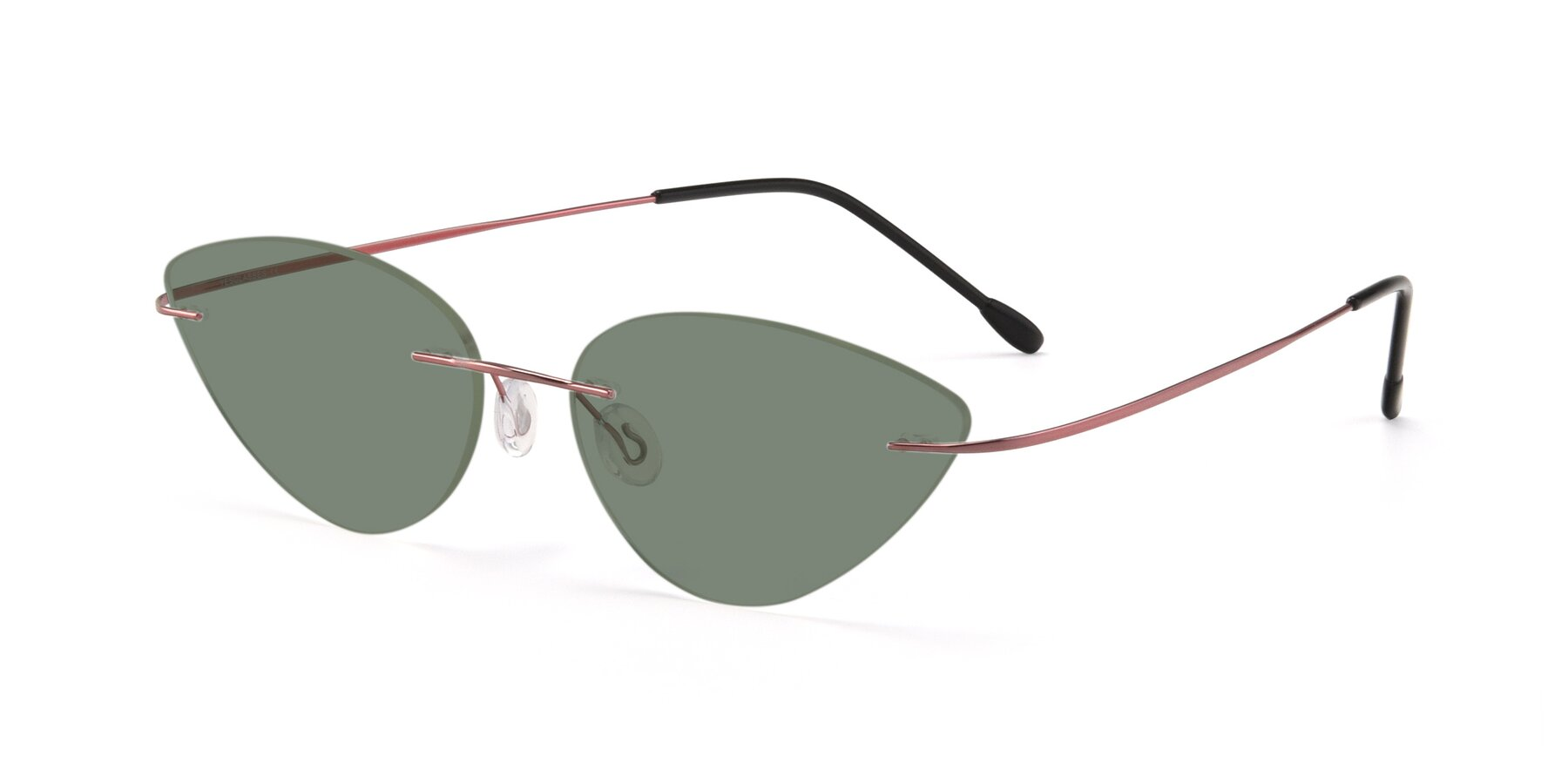 Angle of Pat in Light Pink with Medium Green Tinted Lenses