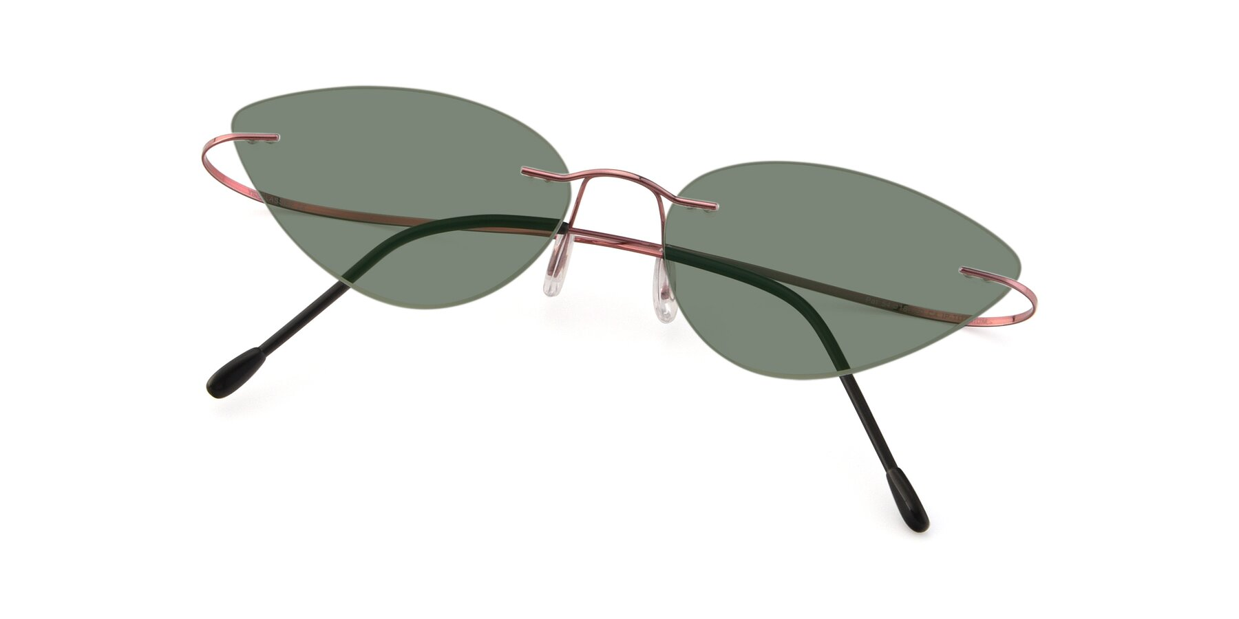 View of Pat in Light Pink with Medium Green Tinted Lenses
