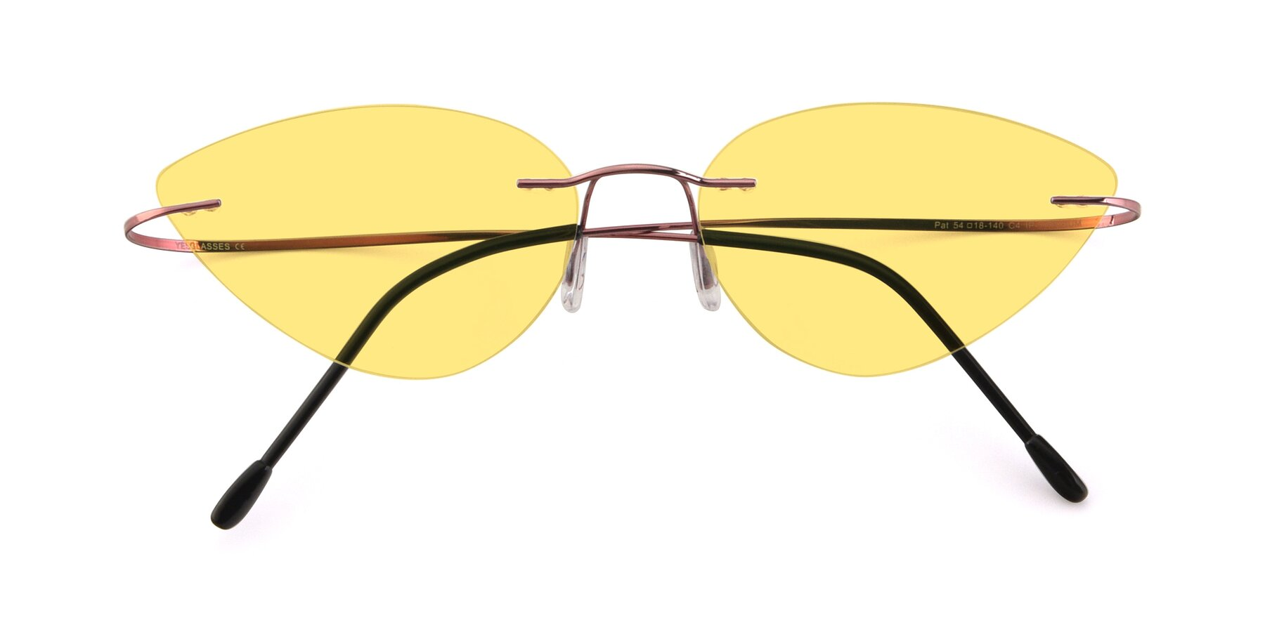 Folded Front of Pat in Light Pink with Medium Yellow Tinted Lenses