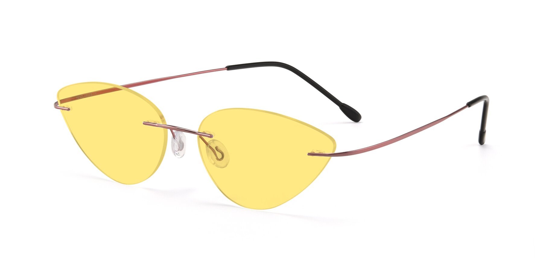 Angle of Pat in Light Pink with Medium Yellow Tinted Lenses