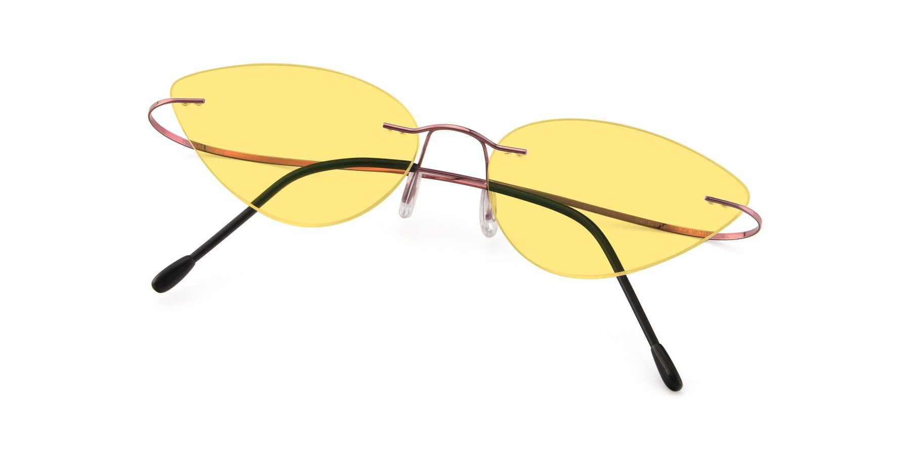 View of Pat in Light Pink with Medium Yellow Tinted Lenses