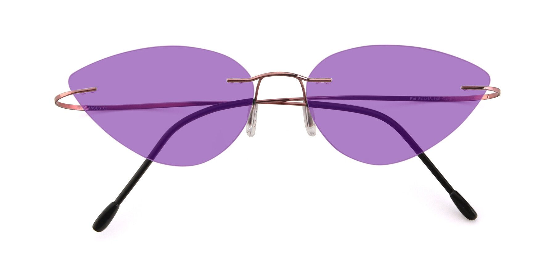 Folded Front of Pat in Light Pink with Medium Purple Tinted Lenses