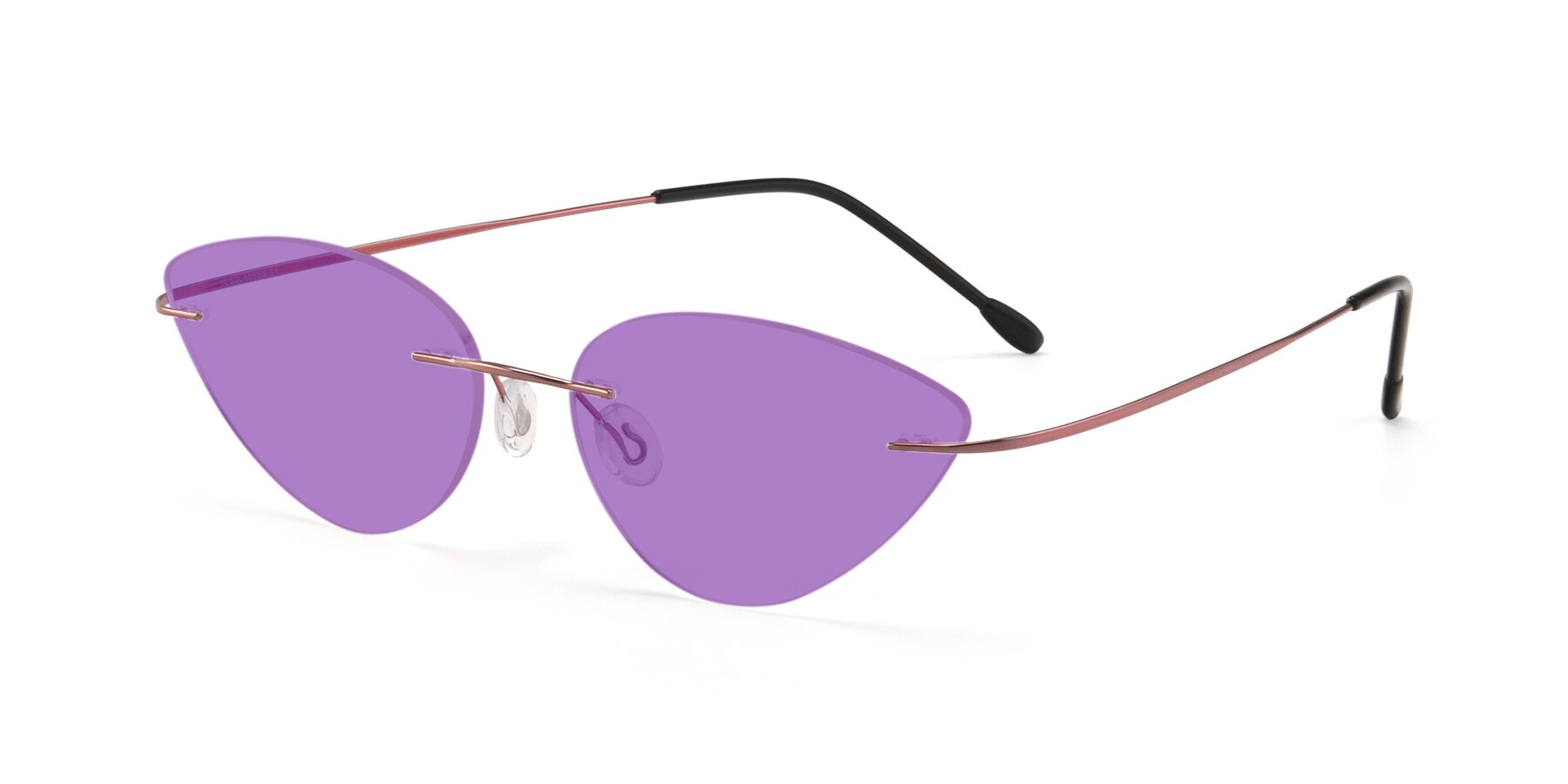 Angle of Pat in Light Pink with Medium Purple Tinted Lenses