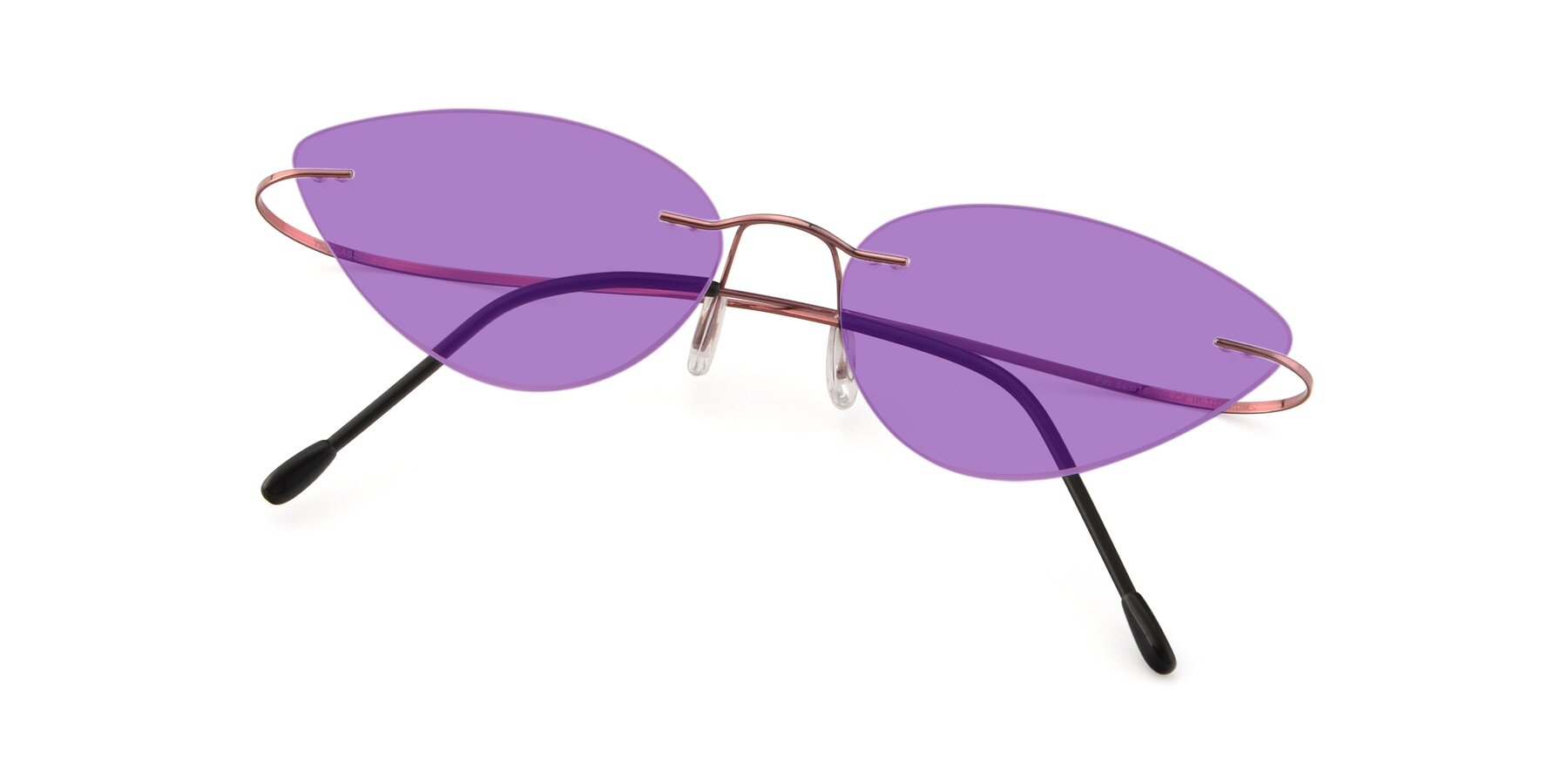 View of Pat in Light Pink with Medium Purple Tinted Lenses