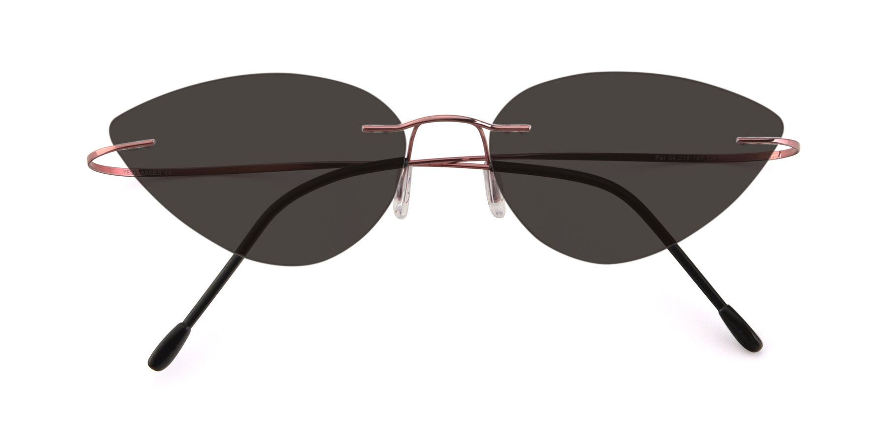 Folded Front of Pat in Light Pink with Gray Tinted Lenses