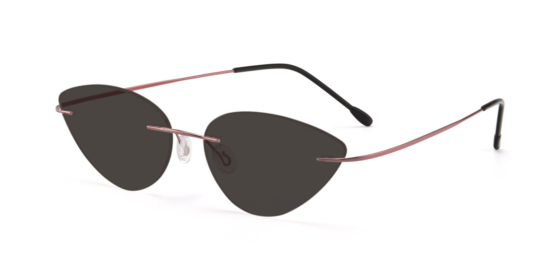 Angle of Pat in Light Pink with Gray Tinted Lenses