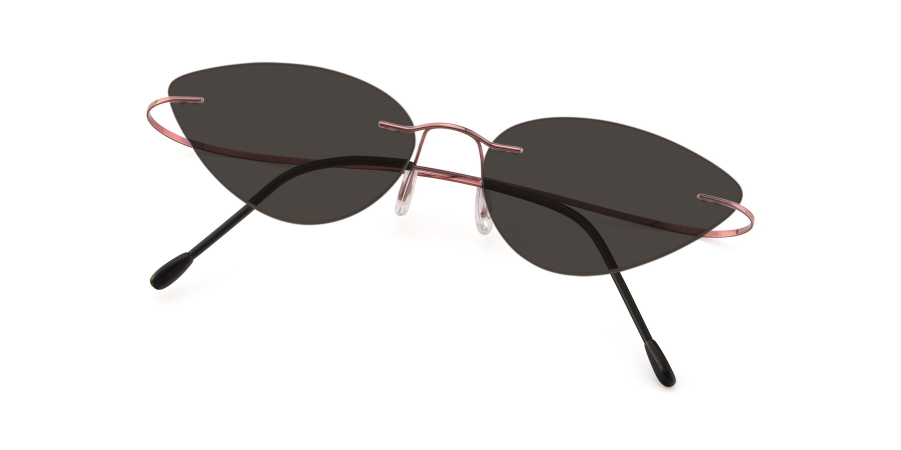 View of Pat in Light Pink with Gray Tinted Lenses