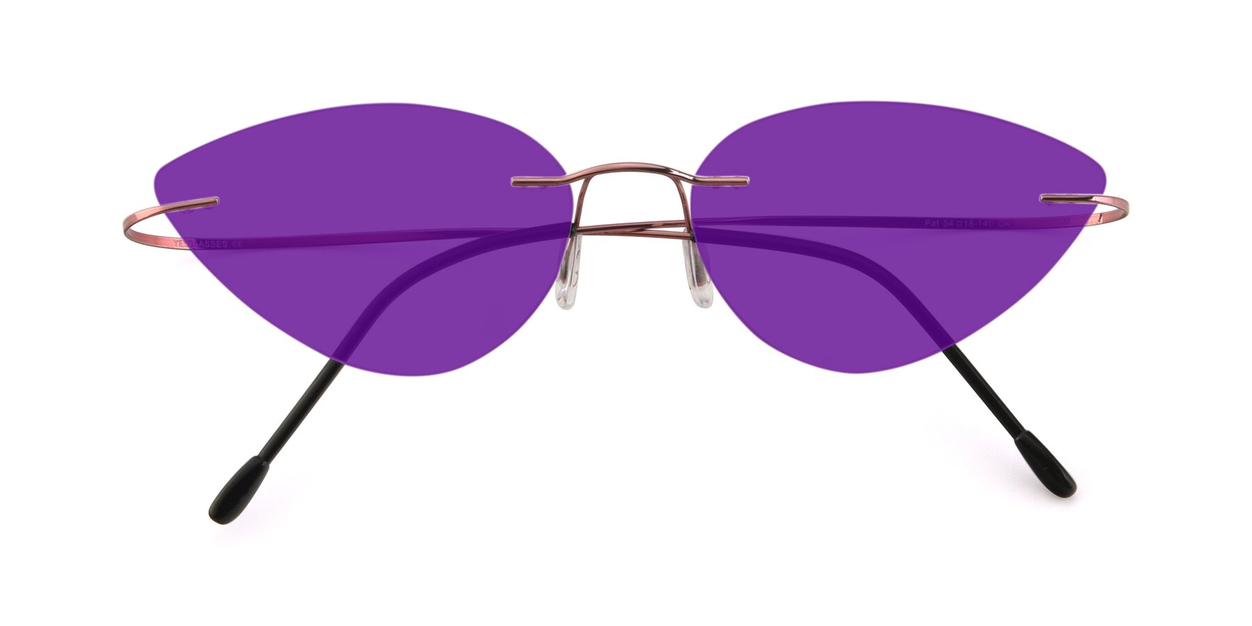 Folded Front of Pat in Light Pink with Purple Tinted Lenses