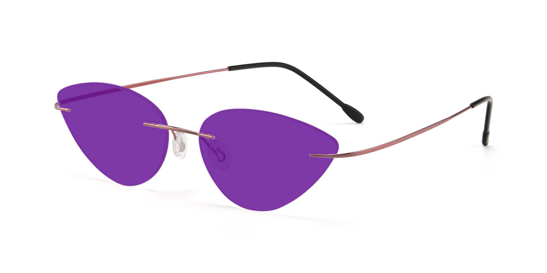 Angle of Pat in Light Pink with Purple Tinted Lenses