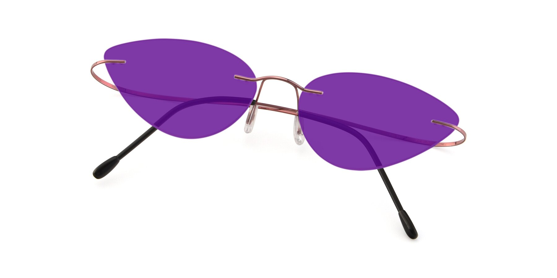 View of Pat in Light Pink with Purple Tinted Lenses