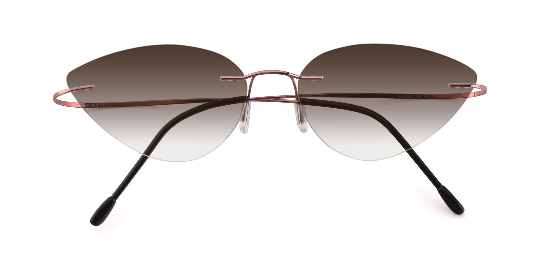 Folded Front of Pat in Light Pink with Brown Gradient Lenses