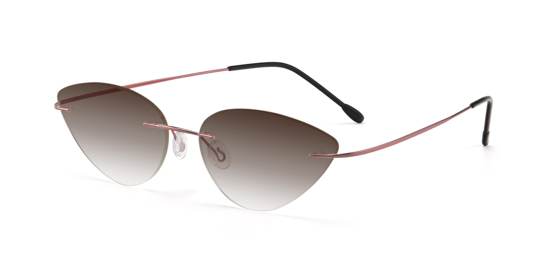 Angle of Pat in Light Pink with Brown Gradient Lenses