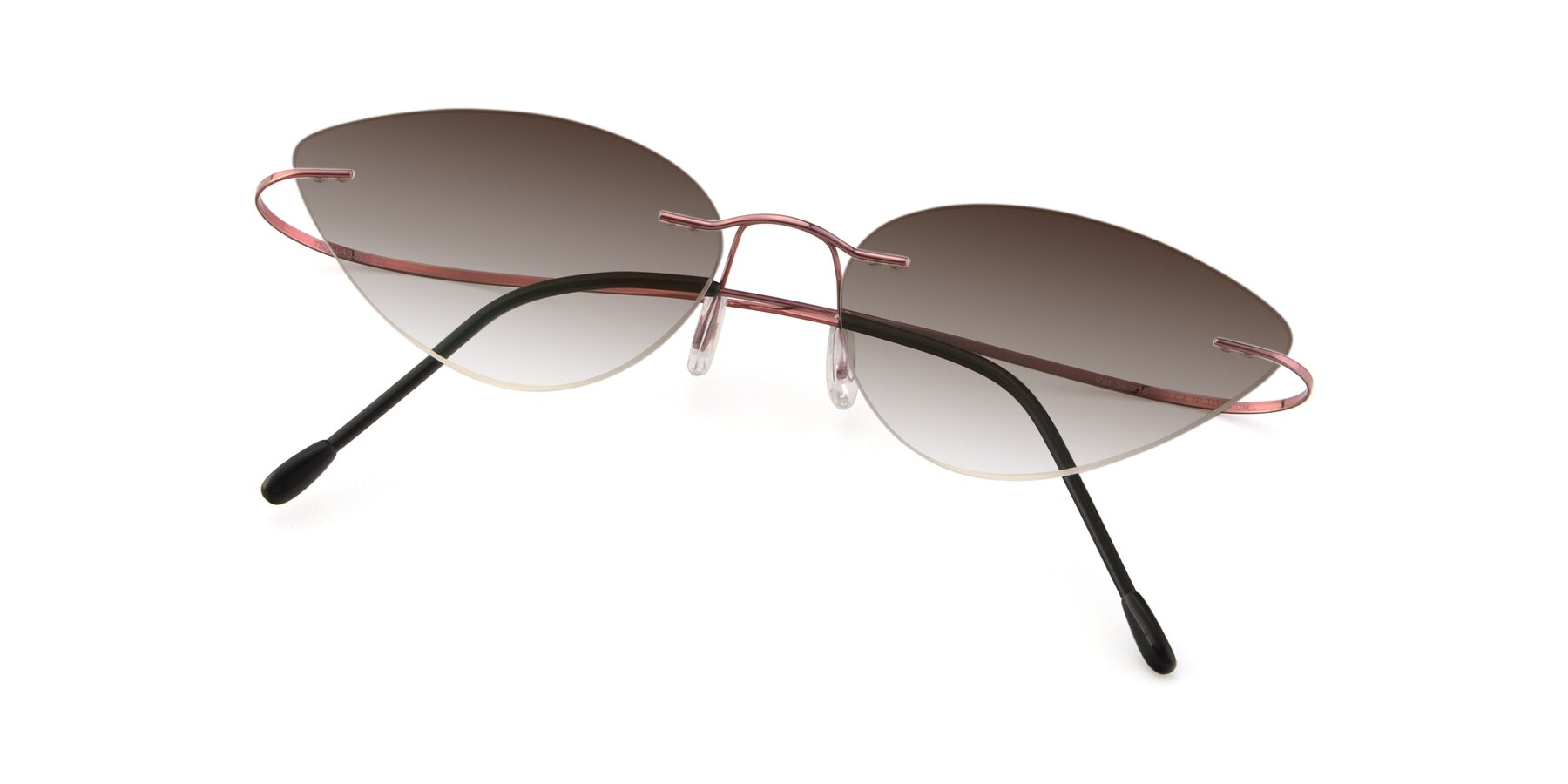 View of Pat in Light Pink with Brown Gradient Lenses