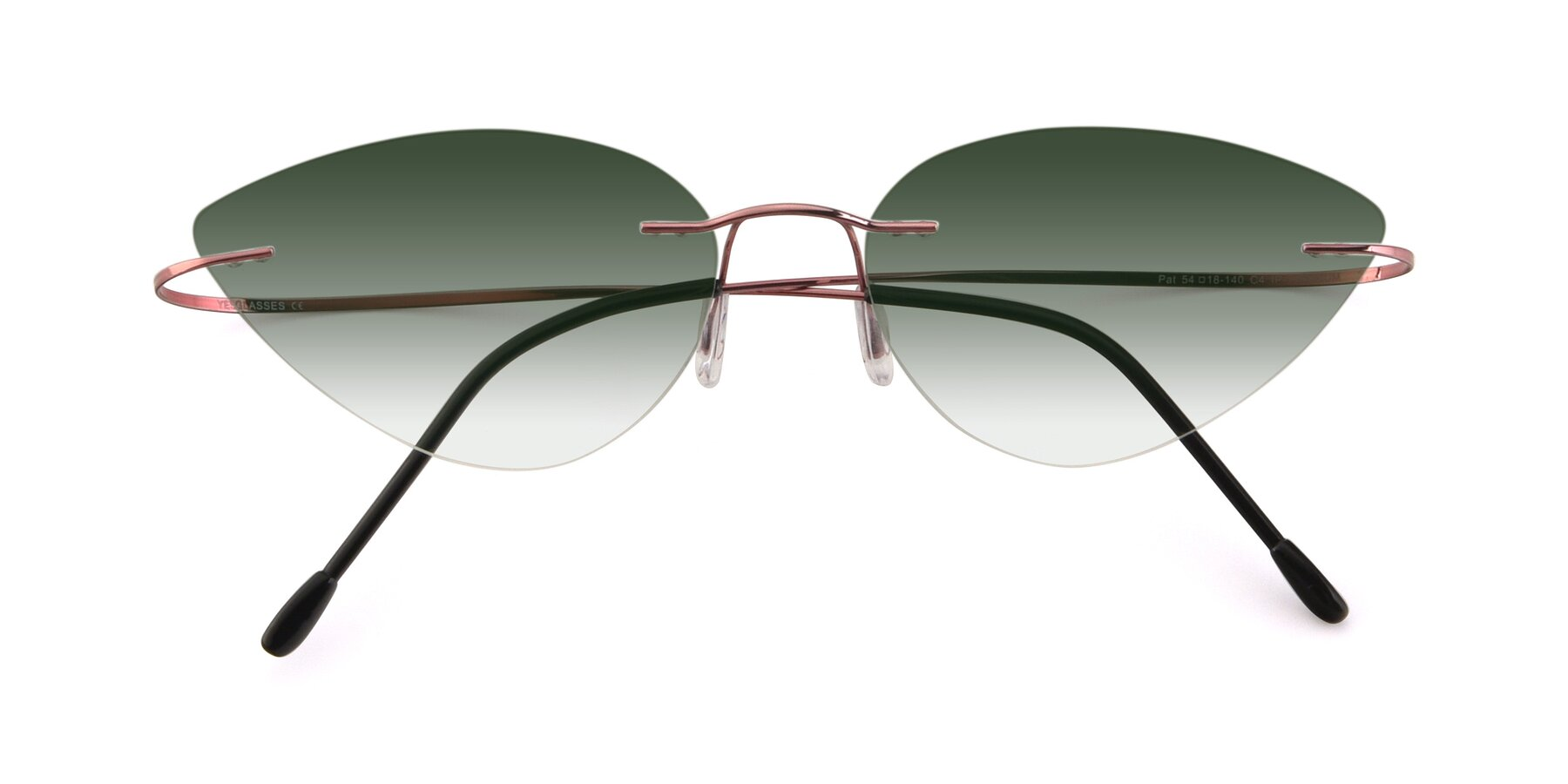 Folded Front of Pat in Light Pink with Green Gradient Lenses