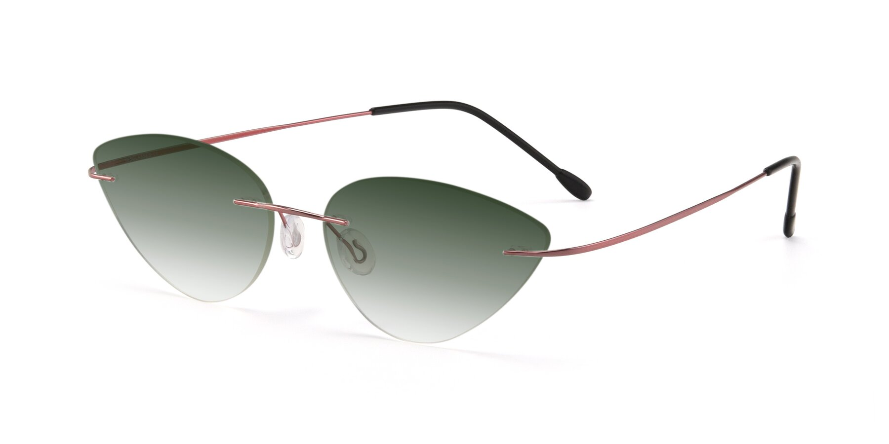 Angle of Pat in Light Pink with Green Gradient Lenses