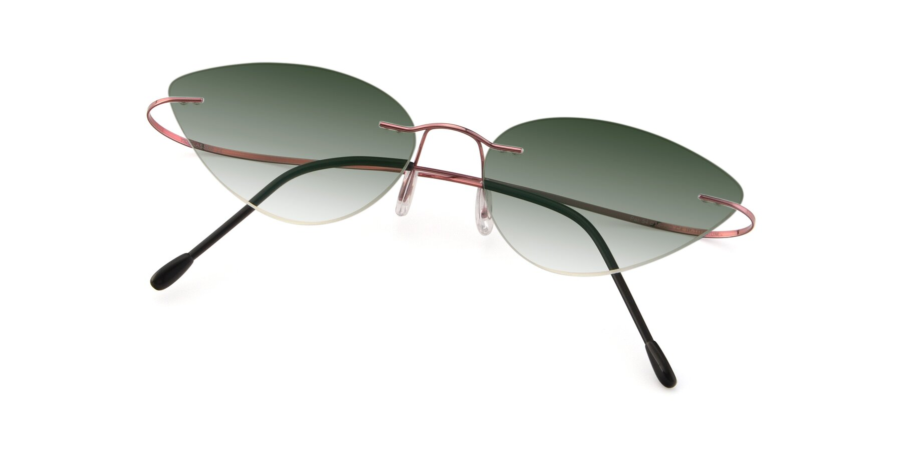 View of Pat in Light Pink with Green Gradient Lenses