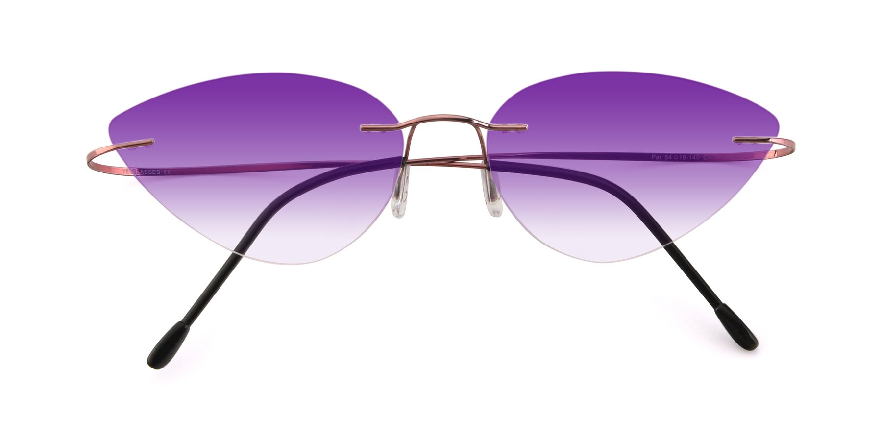 Folded Front of Pat in Light Pink with Purple Gradient Lenses