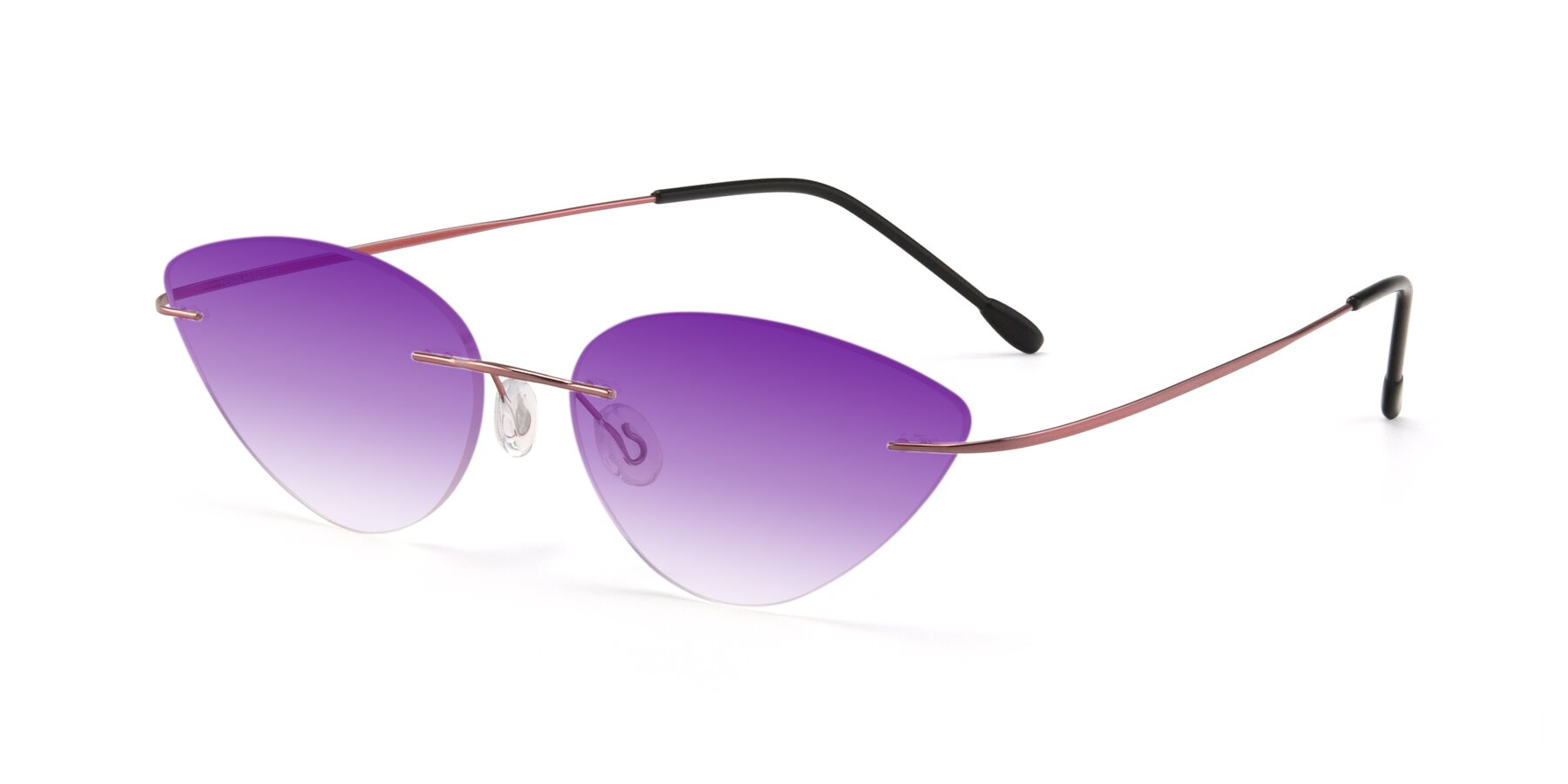 Angle of Pat in Light Pink with Purple Gradient Lenses