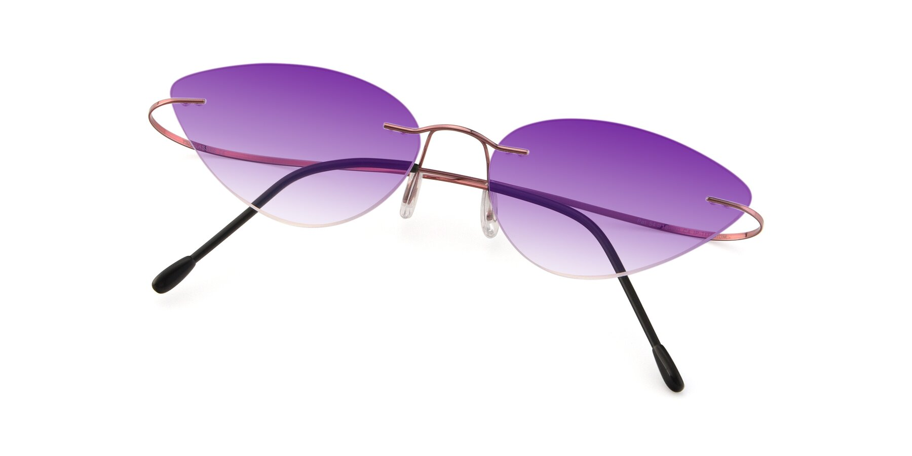 View of Pat in Light Pink with Purple Gradient Lenses