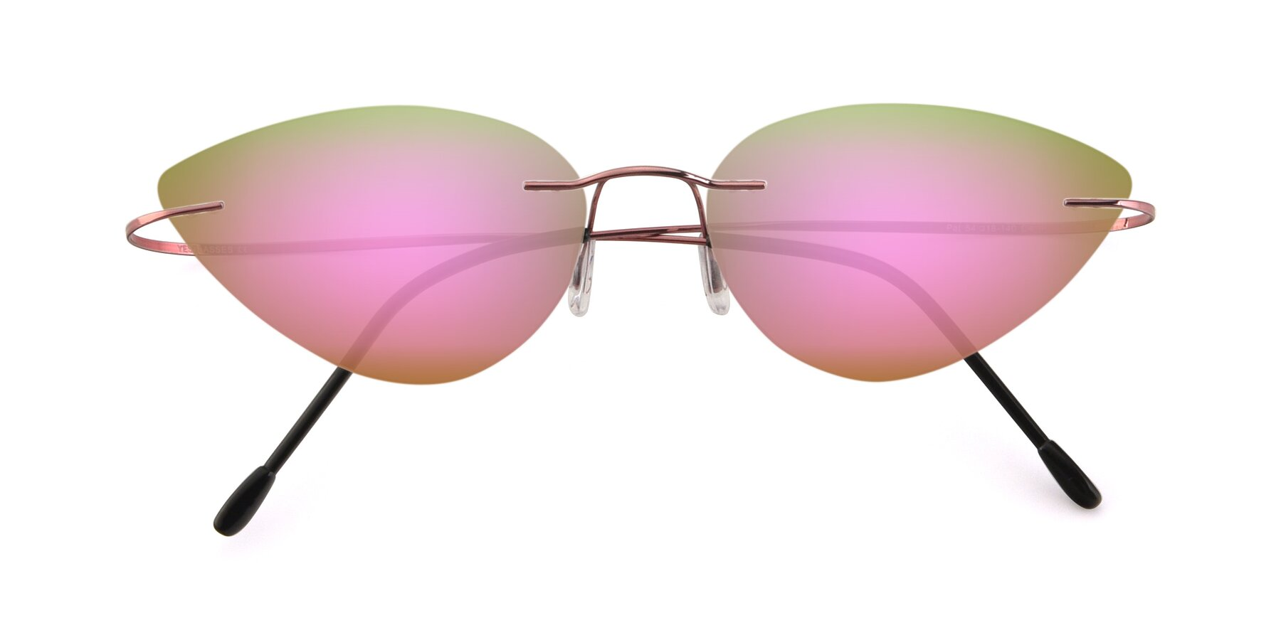 Folded Front of Pat in Light Pink with Pink Mirrored Lenses