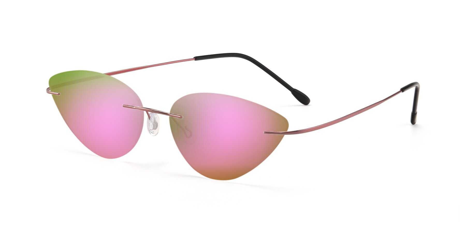 Angle of Pat in Light Pink with Pink Mirrored Lenses