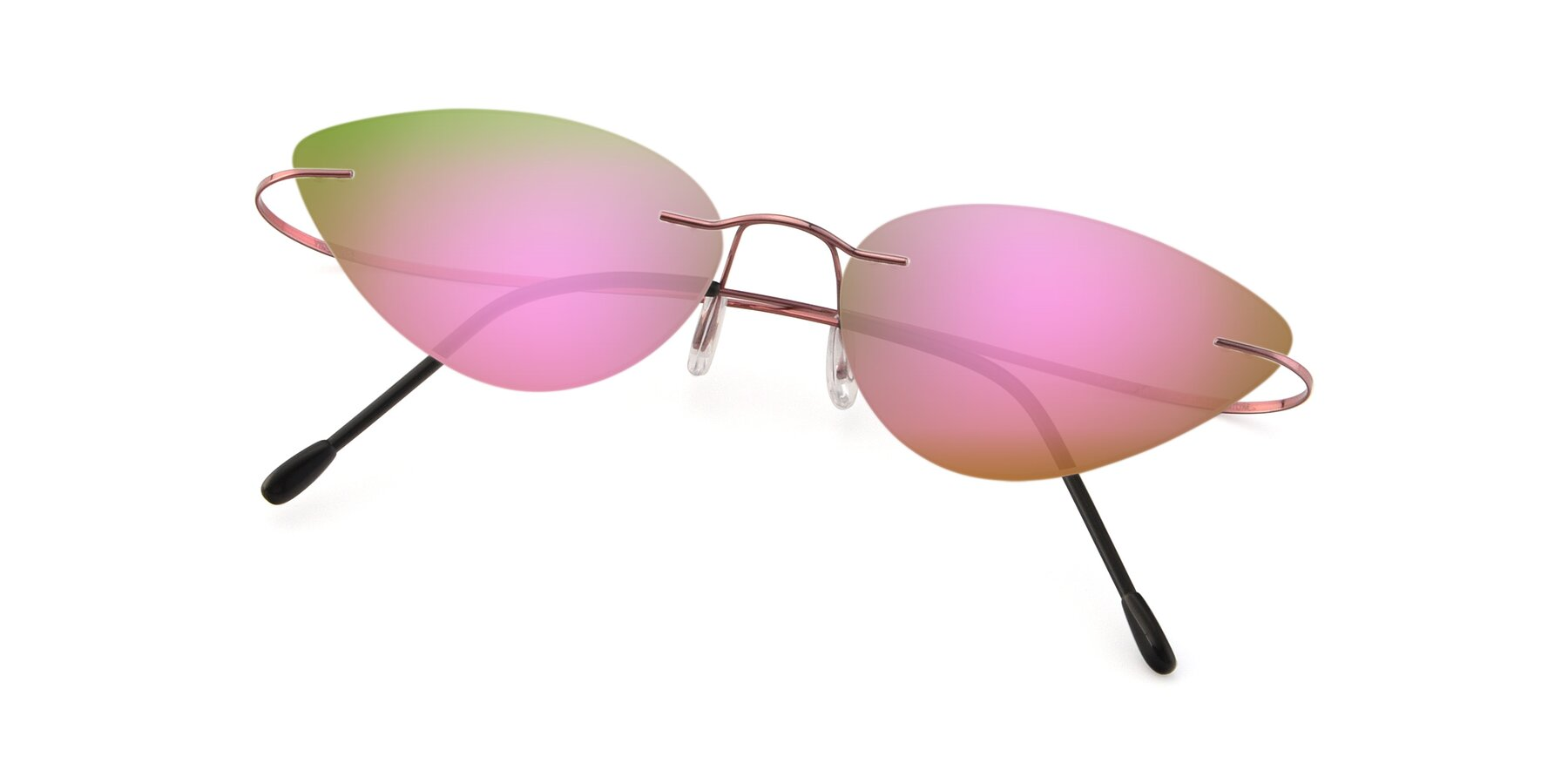 View of Pat in Light Pink with Pink Mirrored Lenses