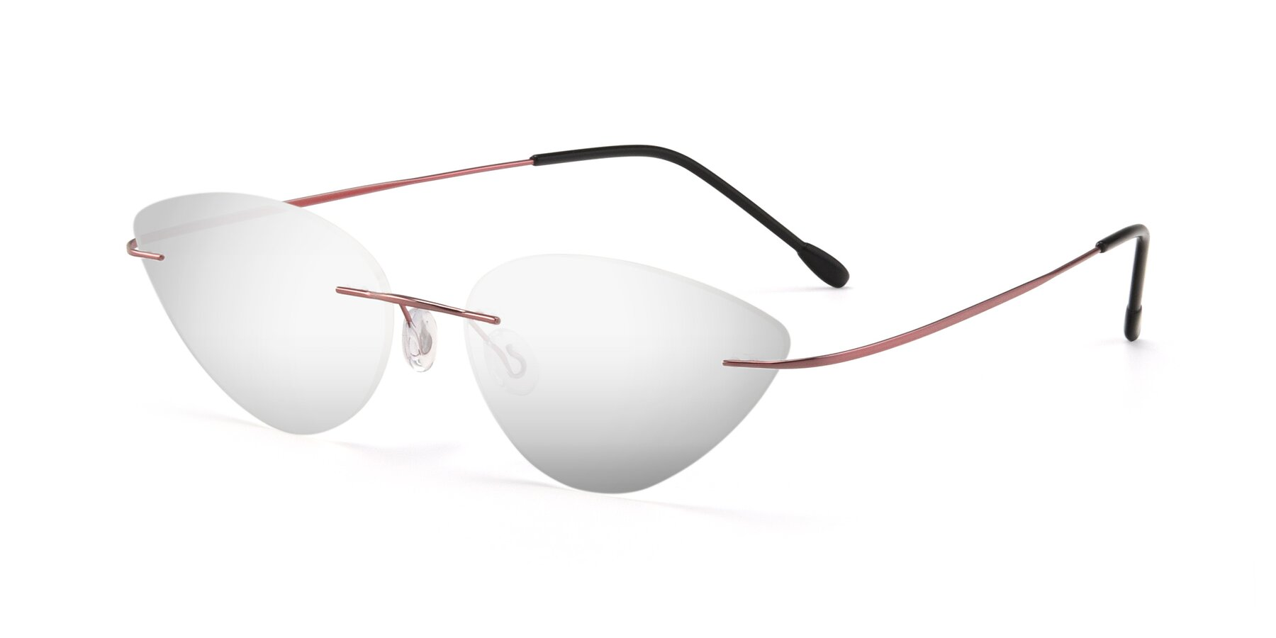 Angle of Pat in Light Pink with Silver Mirrored Lenses