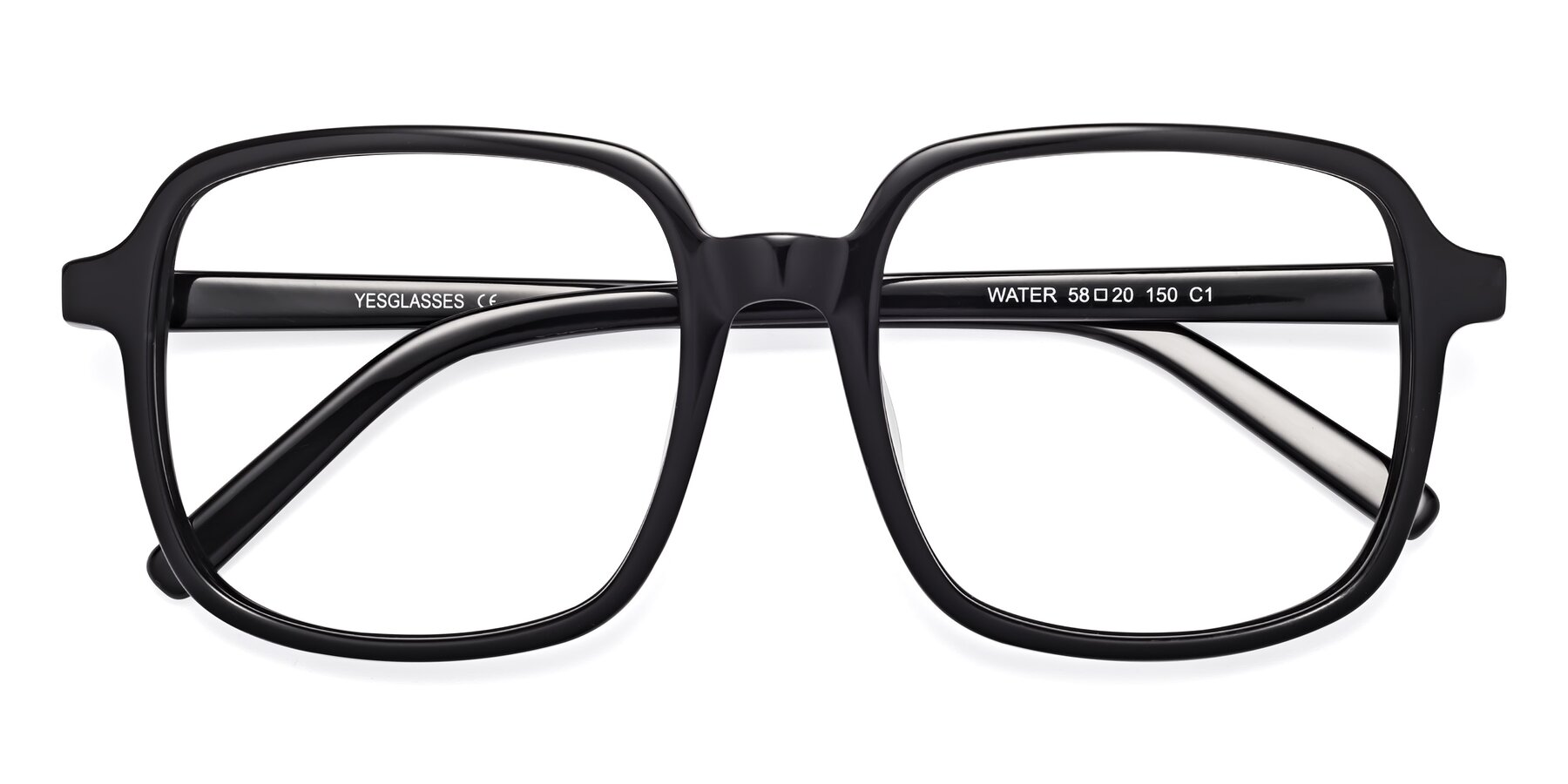 Folded Front of Water in Black with Clear Eyeglass Lenses