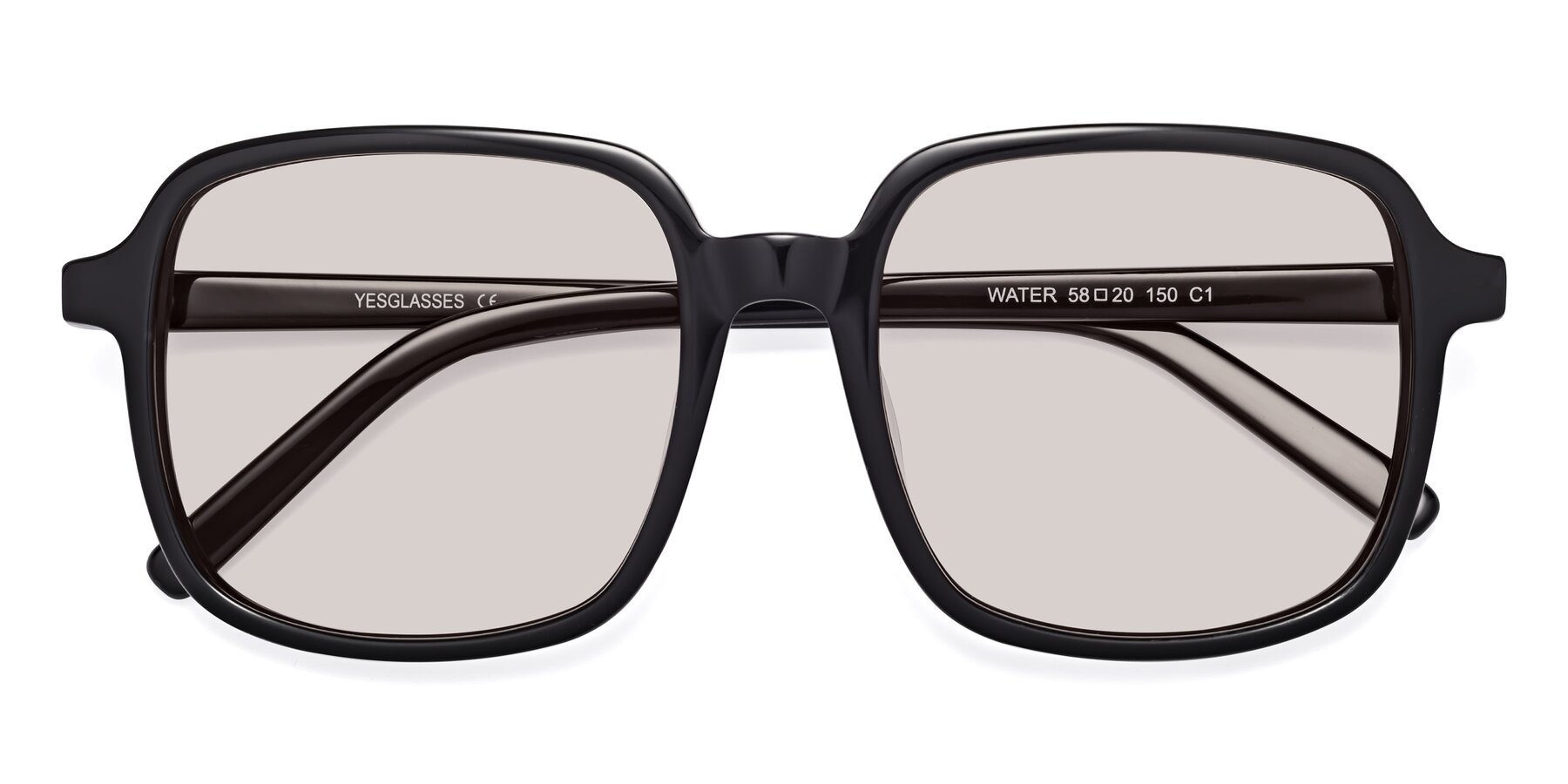 Folded Front of Water in Black with Light Brown Tinted Lenses