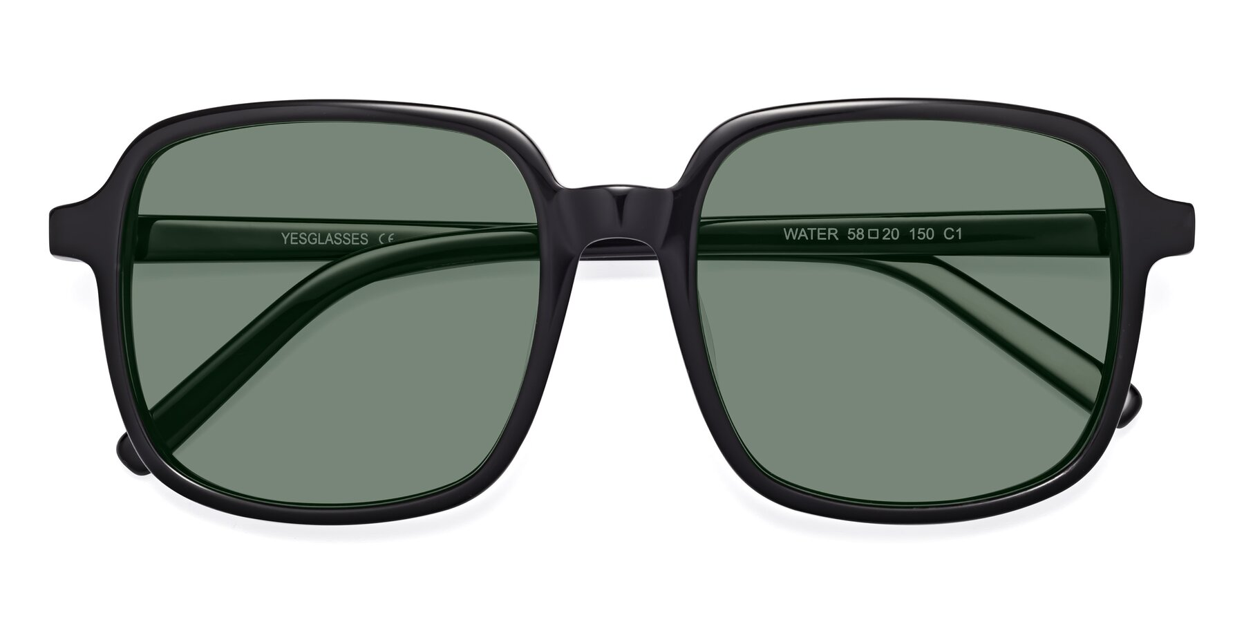Folded Front of Water in Black with Medium Green Tinted Lenses