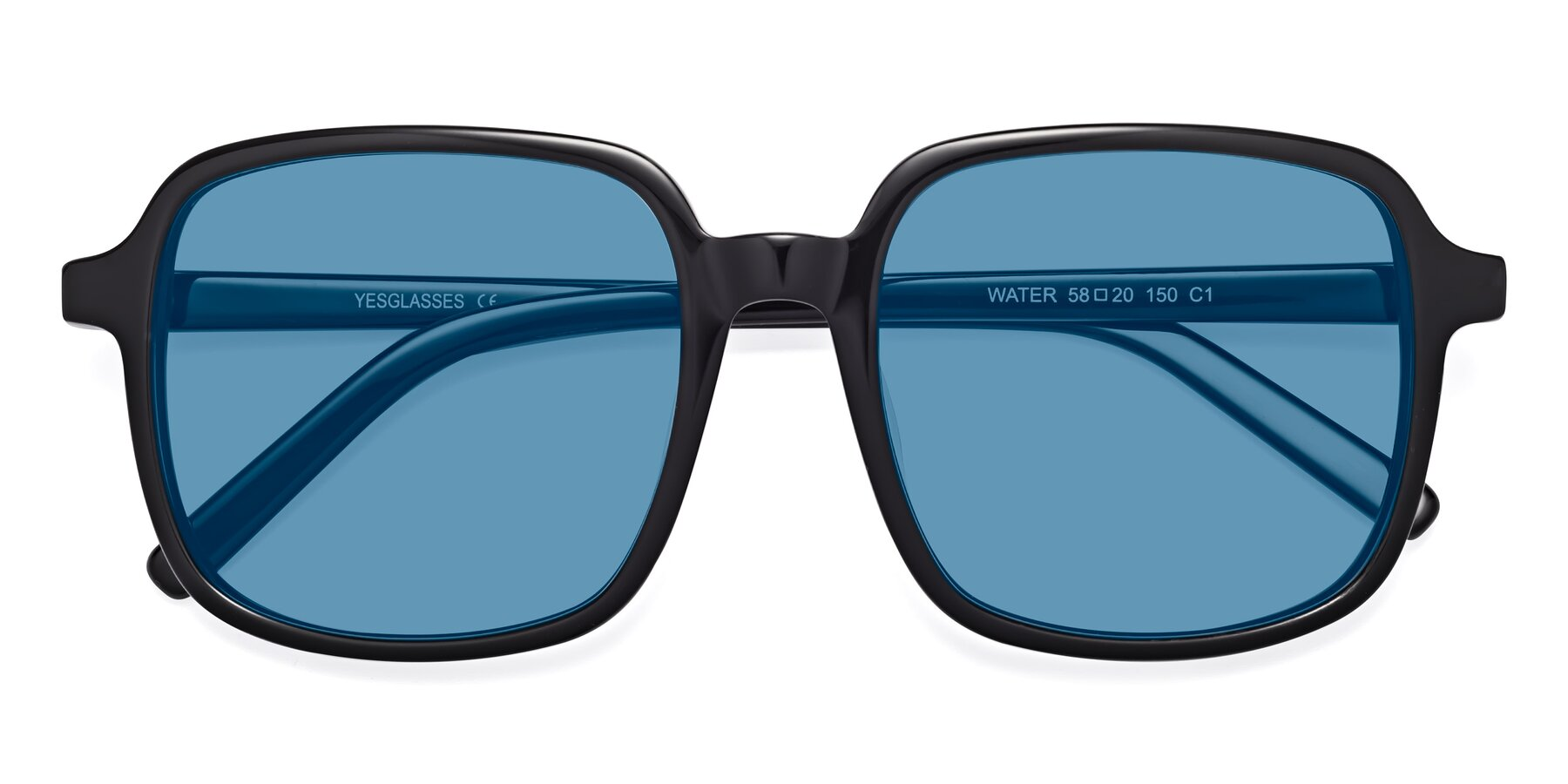 Folded Front of Water in Black with Medium Blue Tinted Lenses