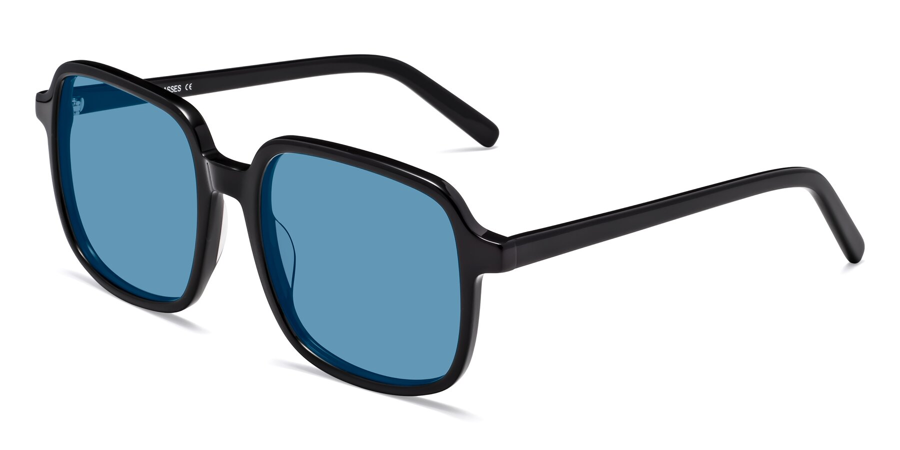 Angle of Water in Black with Medium Blue Tinted Lenses