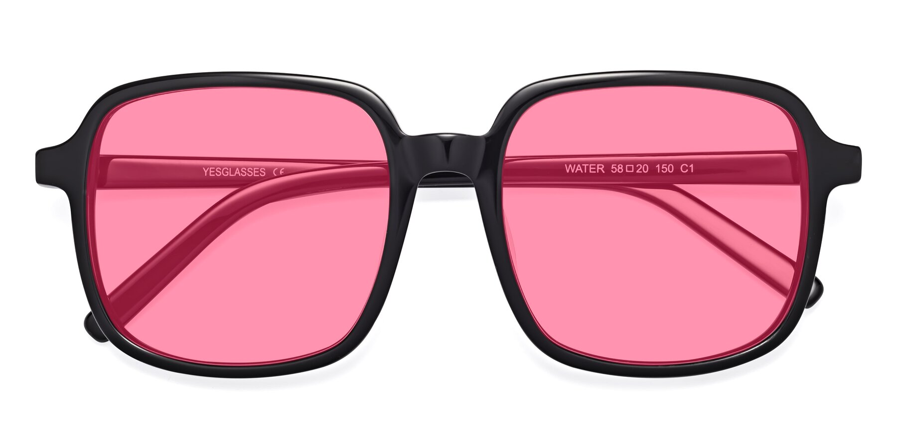 Folded Front of Water in Black with Pink Tinted Lenses