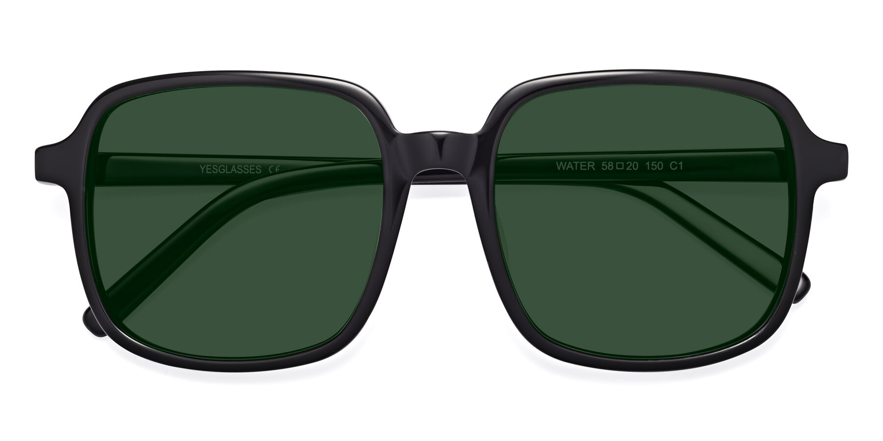 Folded Front of Water in Black with Green Tinted Lenses