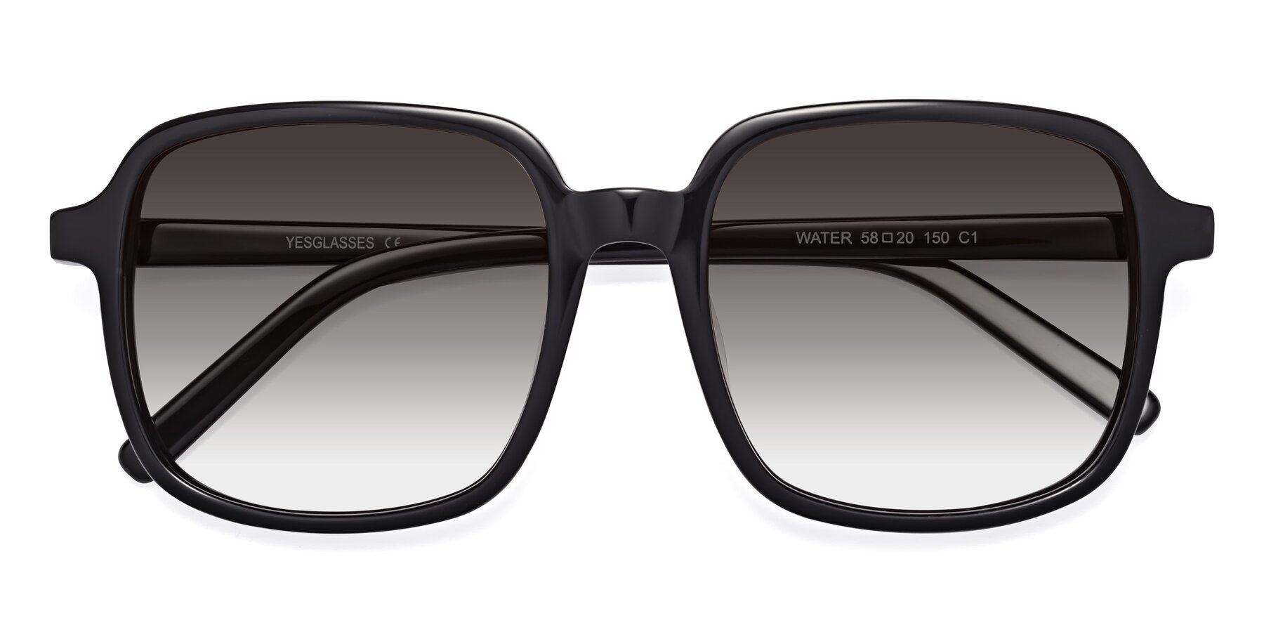 Folded Front of Water in Black with Gray Gradient Lenses