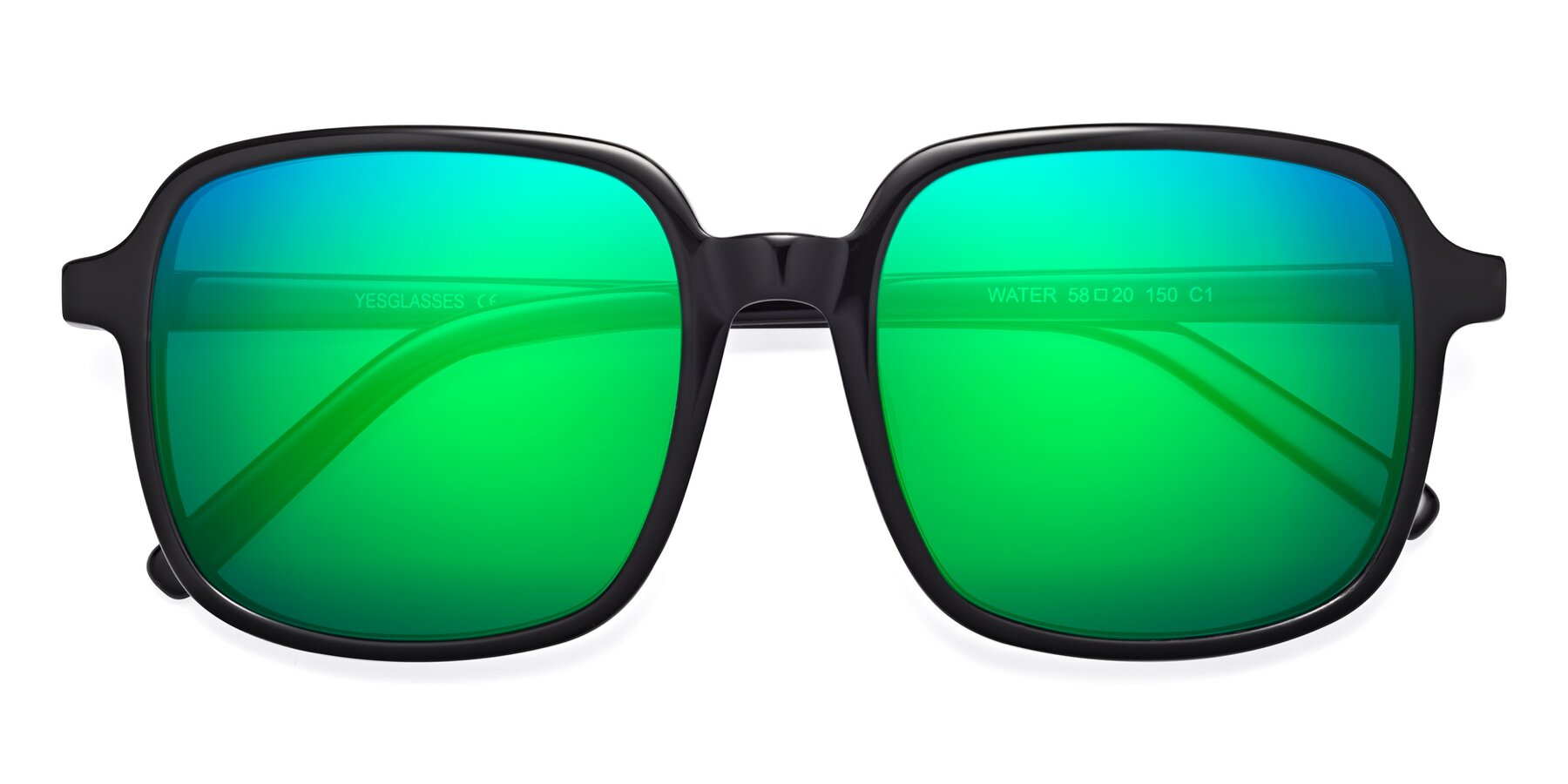 Folded Front of Water in Black with Green Mirrored Lenses