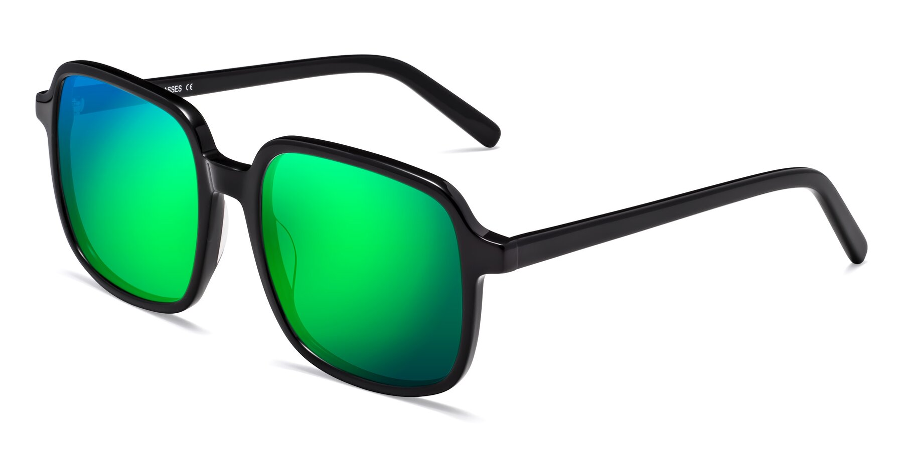 Angle of Water in Black with Green Mirrored Lenses