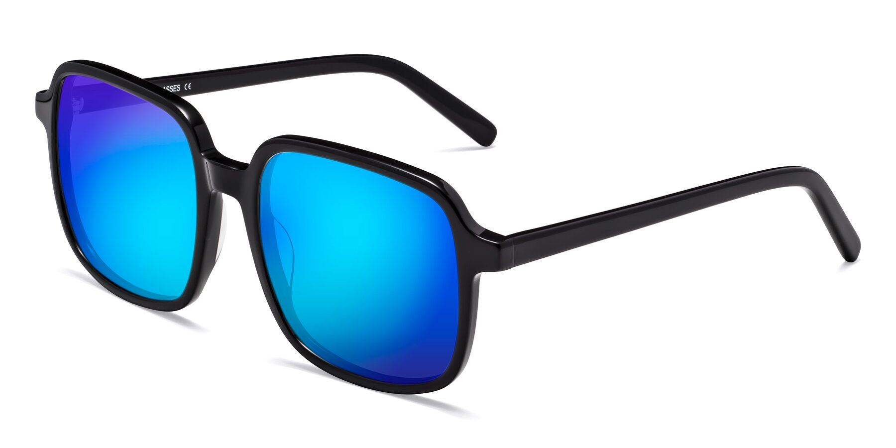Angle of Water in Black with Blue Mirrored Lenses